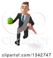 Clipart Of A 3d Young Super White Businessman Holding A Green Apple And Sprinting Royalty Free Illustration