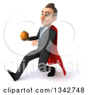 Clipart Of A 3d Young Super White Businessman Holding A Navel Orange And Speed Walking To The Left Royalty Free Illustration
