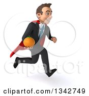 Clipart Of A 3d Young Super White Businessman Holding A Navel Orange And Sprinting To The Right Royalty Free Illustration