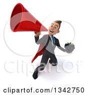 Clipart Of A 3d Young Super White Businessman Holding A Blackberry And Announcing Upwards With A Megaphone Royalty Free Illustration