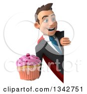 Clipart Of A 3d Young Super White Businessman Holding A Cupcake And Looking Around A Sign Royalty Free Illustration