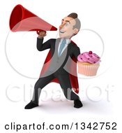 Clipart Of A 3d Young Super White Businessman Holding A Cupcake And Announcing To The Left With A Megaphone Royalty Free Illustration