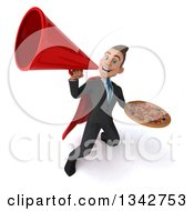 Clipart Of A 3d Young Super White Businessman Holding A Pizza And Announcing Upwards With A Megaphone Royalty Free Illustration