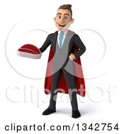 Clipart Of A 3d Young Super White Businessman Holding A Beef Steak Royalty Free Illustration