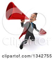 Clipart Of A 3d Young Super White Businessman Holding A Beef Steak And Announcing Upwards With A Megaphone Royalty Free Illustration