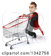 Clipart Of A 3d Young Super White Businessman Collapsing By A Shopping Cart Facing Left Royalty Free Illustration