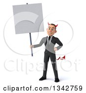 Clipart Of A 3d Young White Devil Businessman Holding A Blank Sign Royalty Free Illustration