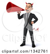 Clipart Of A 3d Young White Devil Businessman Announcing With A Megaphone Royalty Free Illustration