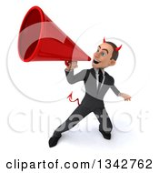 Clipart Of A 3d Young White Devil Businessman Announcing Upwards With A Megaphone Royalty Free Illustration