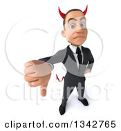 Clipart Of A 3d Young White Devil Businessman Holding Up A Thumb Down Royalty Free Illustration