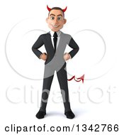 Clipart Of A 3d Young White Devil Businessman Royalty Free Illustration