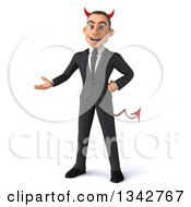 Clipart Of A 3d Young White Devil Businessman Presenting Royalty Free Illustration