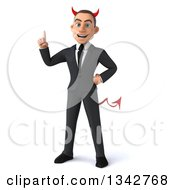 Clipart Of A 3d Young White Devil Businessman Holding Up A Finger Royalty Free Illustration