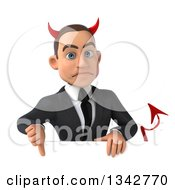 Clipart Of A 3d Young White Devil Businessman Giving A Thumb Down Over A Sign Royalty Free Illustration