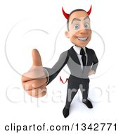 Clipart Of A 3d Young White Devil Businessman Holding Up A Thumb Royalty Free Illustration