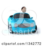 Clipart Of A 3d Young Black Businessman Driving A Blue Convertible Car And Turning Royalty Free Illustration