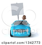Clipart Of A 3d Young Black Businessman Holding A Blank Sign And Driving A Blue Convertible Car Royalty Free Illustration
