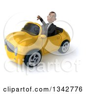 Clipart Of A 3d Young Black Businessman Giving A Thumb Down And Driving A Yellow Convertible Car Slightly To The Left Royalty Free Illustration