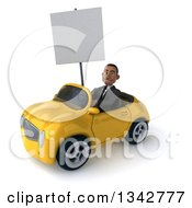 Clipart Of A 3d Young Black Businessman Holding A Blank Sign And Driving A Yellow Convertible Car Slightly To The Left Royalty Free Illustration