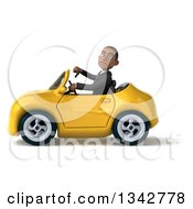 Clipart Of A 3d Young Black Businessman Giving A Thumb Down And Driving A Yellow Convertible Car To The Left Royalty Free Illustration