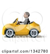 Clipart Of A 3d Young Black Businessman Driving A Yellow Convertible Car To The Left Royalty Free Illustration