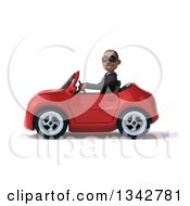Clipart Of A 3d Young Black Businessman Wearing Sunglasses And Driving A Red Convertible Car To The Left Royalty Free Illustration