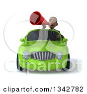 Clipart Of A 3d Young Black Businessman Announcing With A Megaphone And Driving A Green Convertible Car Royalty Free Illustration