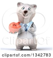 Clipart Of A 3d Happy Polar Bear Doctor Or Veterinarian Holding And Pointing To A Piggy Bank Royalty Free Illustration by Julos