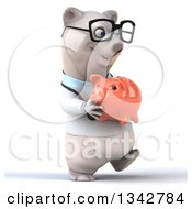 Clipart Of A 3d Bespectacled Happy Polar Bear Doctor Or Veterinarian Holding A Piggy Bank And Walking Slightly To The Right Royalty Free Illustration