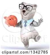 Clipart Of A 3d Bespectacled Happy Polar Bear Doctor Or Veterinarian Holding A Piggy Bank And Jumping Royalty Free Illustration