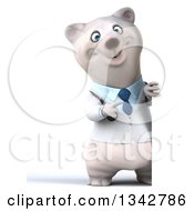 Clipart Of A 3d Full Length Happy Polar Bear Doctor Or Veterinarian Pointing Around A Sign Royalty Free Illustration