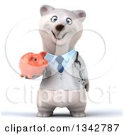 Clipart Of A 3d Happy Polar Bear Doctor Or Veterinarian Holding A Piggy Bank Royalty Free Illustration