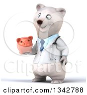 Clipart Of A 3d Happy Polar Bear Doctor Or Veterinarian Facing Slightly Left And Holding A Piggy Bank Royalty Free Illustration