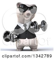 Clipart Of A 3d Happy Business Polar Bear Wearing Sunglasses Working Out Doing Bicep Curls With Dumbbells Royalty Free Illustration