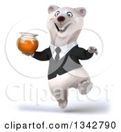 Clipart Of A 3d Business Polar Bear Holding A Honey Jar And Jumping Royalty Free Illustration