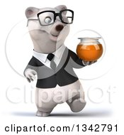 Clipart Of A 3d Bespectacled Business Polar Bear Holding A Honey Jar And Walking Royalty Free Illustration