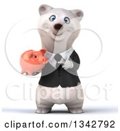 Clipart Of A 3d Business Polar Bear Holding And Pointing To A Piggy Bank Royalty Free Illustration