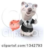 Clipart Of A 3d Business Polar Bear Holding Up A Thumb And Piggy Bank Royalty Free Illustration