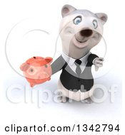 Clipart Of A 3d Business Polar Bear Holding Up A Thumb Down And Piggy Bank Royalty Free Illustration