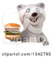 Clipart Of A 3d Happy Polar Bear Holding A Double Cheeseburger Over A Sign Royalty Free Illustration