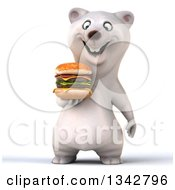 Clipart Of A 3d Happy Polar Bear Holding And Looking Down At A Double Cheeseburger Royalty Free Illustration