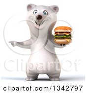 Clipart Of A 3d Happy Polar Bear Holding A Double Cheeseburger And Pointing To The Left Royalty Free Illustration