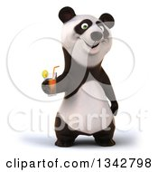Clipart Of A 3d Happy Panda Holding A Beverage Royalty Free Illustration by Julos