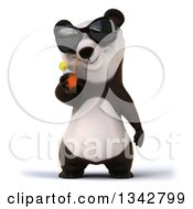 Clipart Of A 3d Happy Panda Wearing Sunglasses And Drinking A Beverage Royalty Free Illustration