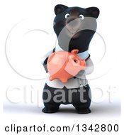 Clipart Of A 3d Black Bear Veterinarian Or Doctor Holding A Piggy Bank Royalty Free Illustration