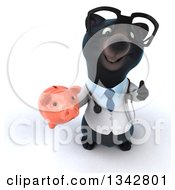 Clipart Of A 3d Bespectacled Black Bear Veterinarian Or Doctor Holding Up A Thumb And A Piggy Bank Royalty Free Illustration by Julos