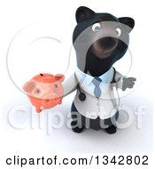 Clipart Of A 3d Black Bear Veterinarian Or Doctor Holding Up A Thumb Down And A Piggy Bank Royalty Free Illustration by Julos