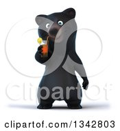 Clipart Of A 3d Happy Black Bear Drinking A Beverage Royalty Free Illustration
