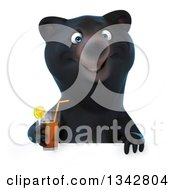 Clipart Of A 3d Happy Black Bear Holding A Beverage Over A Sign Royalty Free Illustration