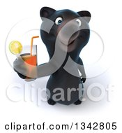 Clipart Of A 3d Happy Black Bear Holding Up A Beverage Royalty Free Illustration